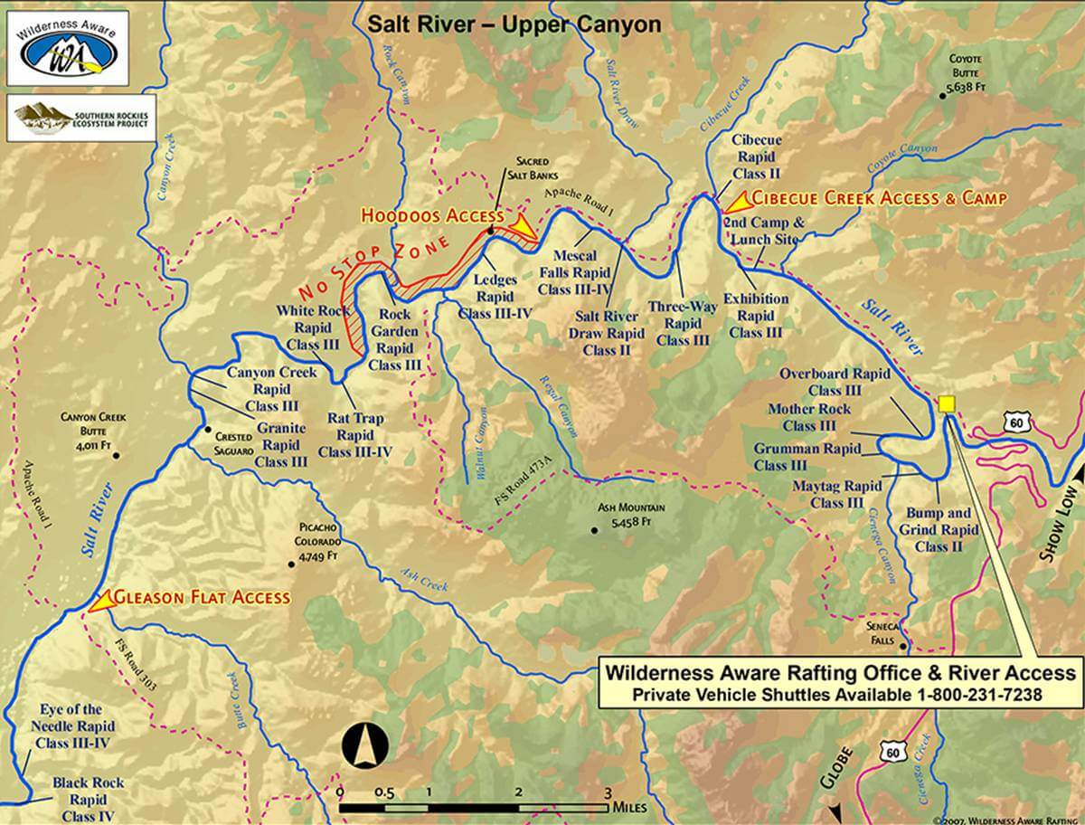 Salt River Map Upper Canyon Arizona Whitewater Rafting