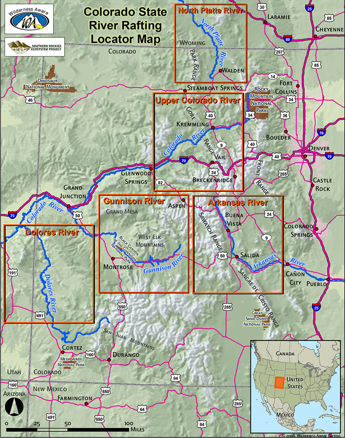 Map Of Colorado River In Arizona.Colorado State River Locator Map Wilderness Aware
